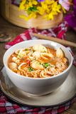 Fresh tomato soup with conchigliette royalty free stock photos