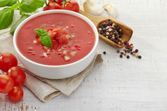Fresh tomato soup Gazpacho Stock Image