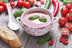 Fresh tomato soup in a porcelain bowl. Stock Image