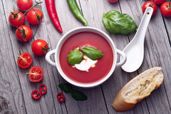 Fresh tomato soup in a porcelain bowl. Stock Images