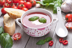 Fresh tomato soup in a porcelain bowl. Stock Photography