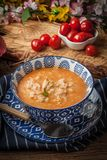 Fresh tomato soup with rice. royalty free stock image