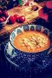 Fresh tomato soup with rice. Stock Photography