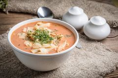 Fresh tomato soup with rice royalty free stock photo