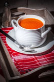 Fresh tomato soup in a white bowl. Royalty Free Stock Photo