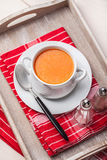 Fresh tomato soup in a white bowl. Stock Photos