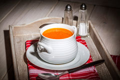Fresh tomato soup in a white bowl. Stock Images
