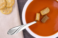 Fresh tomato soup in a white bowl Royalty Free Stock Photo