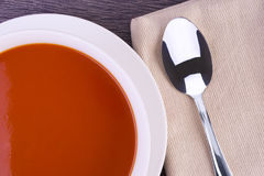 Fresh tomato soup in a white bowl Royalty Free Stock Image
