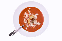 Fresh tomato soup in a white bowl Stock Image
