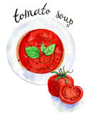 Fresh tomato soup in a white plate. On chekered napkin. Watercolor food illustration  on  white Stock Image