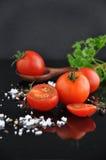 Fresh Tomato with Spice on Black Background Stock Photos