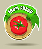 Fresh tomato sticker Royalty Free Stock Image