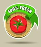 Fresh tomato sticker Royalty Free Stock Image