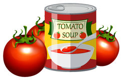 Fresh tomato and tomato soup in can Royalty Free Stock Image