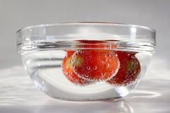 Fresh tomatoes. Transparent bowl filled with water and floating tomatoes in bubbles royalty free stock photography