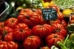 Fresh tomatoes. At Barcelona marketplace stock image