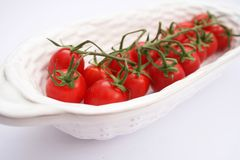 Fresh Tomatoes. Some fresh red tomatoes in a white bowl stock photography