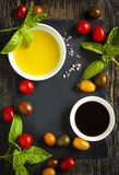 Fresh tomatoes, basil, olive oil and balsamic vinegar Royalty Free Stock Photo