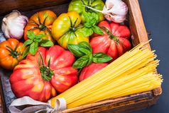 Spaghetti and fresh tomatoes. royalty free stock image