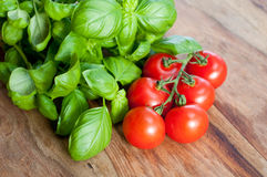 Fresh tomatoes and basil Royalty Free Stock Images