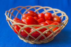 Fresh tomatoes in a basket on a blue background Stock Image