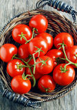 Fresh tomatoes in basket Stock Photo