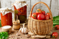 Fresh tomatoes in a basket Royalty Free Stock Images