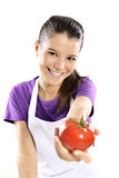 Fresh tomatoes. Beautiful young woman tomatoes ok sign stock images