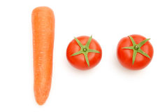 Fresh tomatoes and carrot shape like 100 Royalty Free Stock Photography