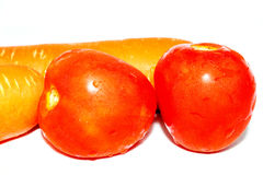 Fresh Tomatoes and Carrots Stock Photos