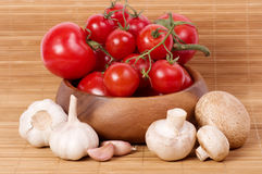 Fresh Tomatoes with champignon and garlic Royalty Free Stock Photo