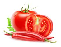Fresh tomatoes and chili peppers royalty free stock photos