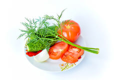 Fresh tomatoes, cucumbers, garlic and herbs Royalty Free Stock Photo