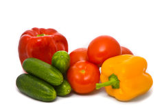 Fresh tomatoes, cucumbers and pepper Stock Photography