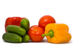 Fresh tomatoes, cucumbers and pepper Royalty Free Stock Photography
