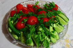 Fresh tomatoes and cucumbers. On the table in a plate are tomatoes and cucumbers Stock Images