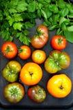 Fresh tomatoes on dark background. Top view Stock Photos