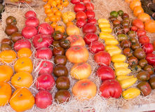 FRESH TOMATOES. DIFFERENT VARIETY OF FRESH TOMATOES IN A MARKET STREET IN PROVENCE, FRANCE Stock Image