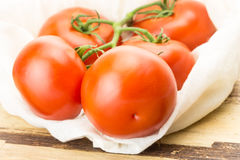 Fresh tomatoes in eco cloth bag Royalty Free Stock Photo