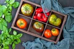 Fresh tomatoes on dark background. Top view Stock Photography