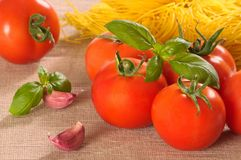 Fresh Tomatoes With Garlic Stock Photo