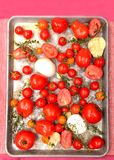 Fresh tomatoes, garlic, onions and thyme in roasting pan Royalty Free Stock Photo