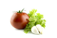 Fresh tomatoes with Garlic and Parsley Royalty Free Stock Photography