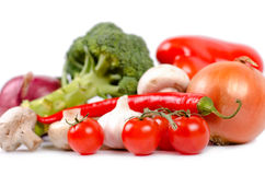 Fresh tomatoes, garlic and chilli Royalty Free Stock Photos