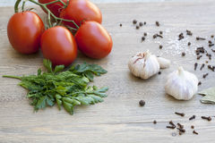 Fresh tomatoes, garlic and spices on wooden table. Fresh tomatoes, garlic and spices on dark brown wooden table royalty free stock photo