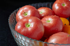 Fresh tomatoes in glass bowl Stock Photos
