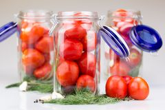 Fresh tomatoes in a glass jar. With a variety of spices Stock Photography
