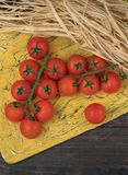 Fresh tomatoes from grapes on a wooden background. in a rustic style. season of vegetables. advertisement.Vegetables from the gard royalty free stock image