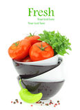 Fresh tomatoes and green pepper Stock Photos